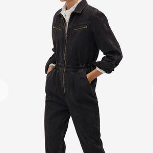 Mango boiler suit in grey denim
